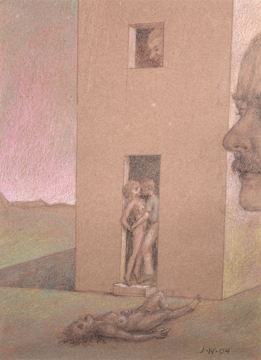 STUDY FOR E AT D'S #3 FIVE FIGURES IN AND AROUND A STRUCTURE, 2004, Pastel and Pencil on Brown Paper, 11 x 8 1/2""