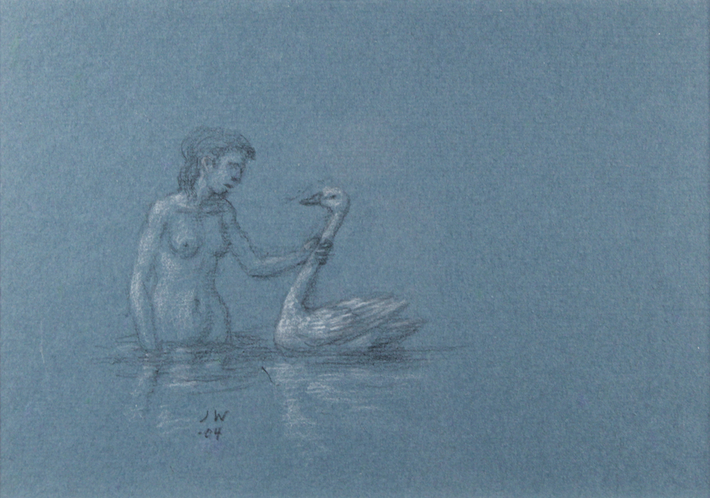 STUDY FOR E AT D'S NUDE IN LAKE HOLDING A SWAN BY THE NECK, 2004, Charcoal on Blue Paper heightened with White Chalk, 7 x 10""
