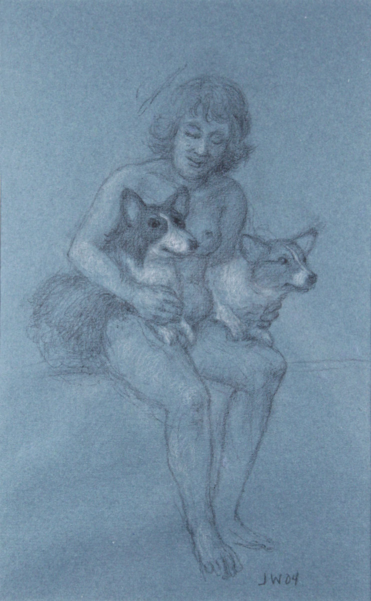 STUDY FOR E AT D'S #9 SHIRLEY WITH BUGS AND BRYN, 2004, Charcoal on Blue Paper heightened with White Chalk, 12 x 8 1/2""