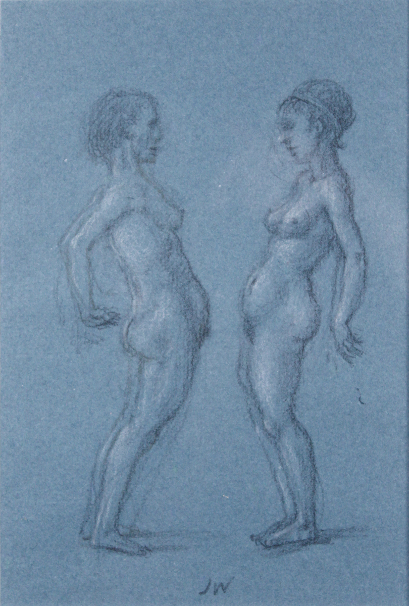 STUDY FOR E AT D'S #8 TWO NUDES FACING EACH OTHER, 2004, Charcoal on Blue Paper heightened with White Chalk, 9 x 6 1/2""