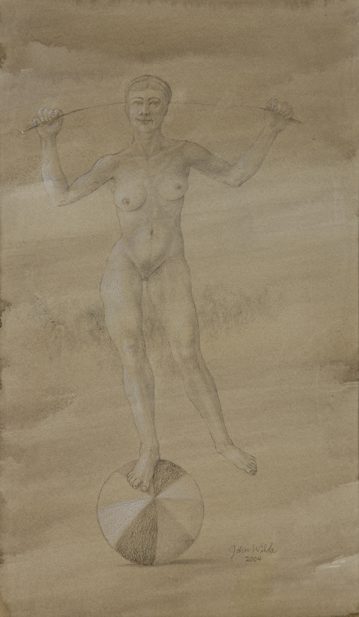 STUDY FOR E AT D'S - NUDE BALANCING ON A BEACH BALL, 2004, Pencil on Toned Paper, 12 x 7""