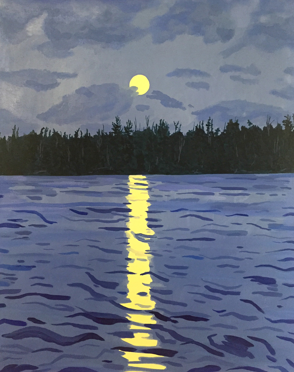 KNIFE LAKE MOONRISE, Oil on Canvas, 22 x 28""