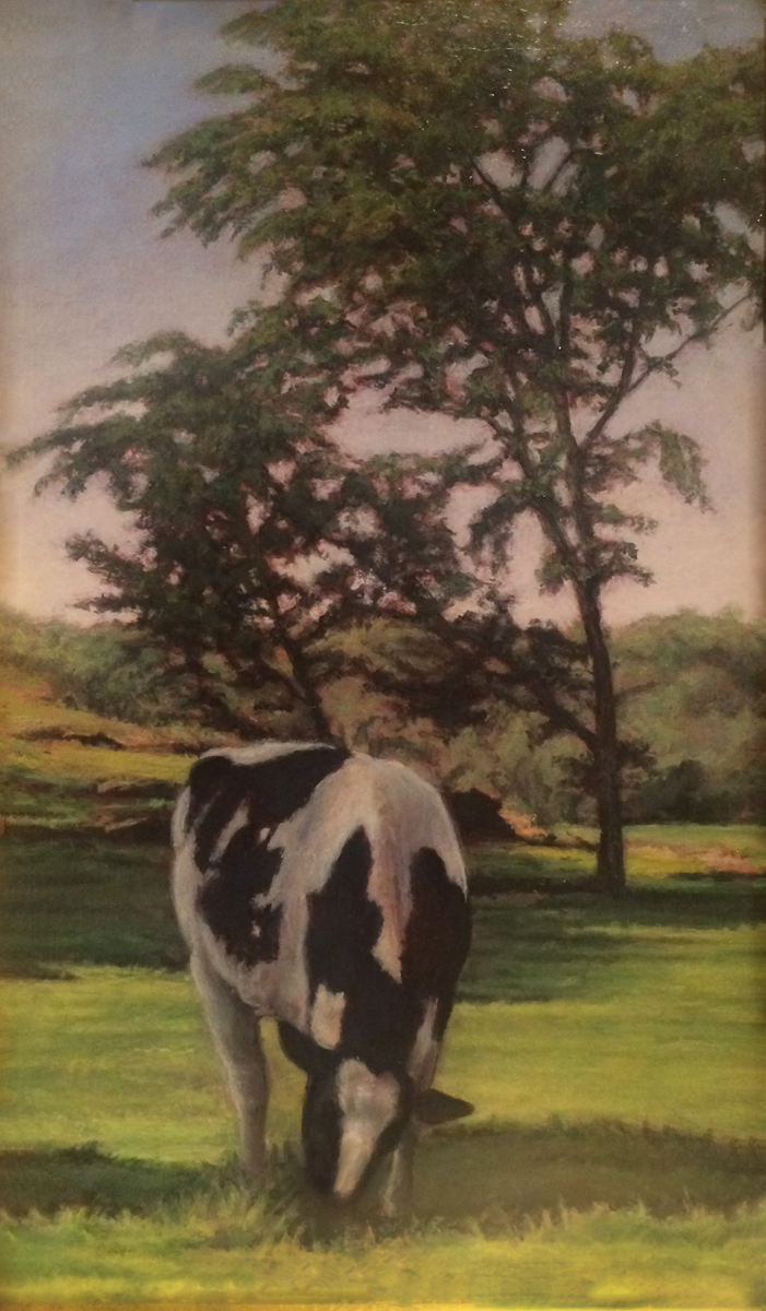 "SPRING PASTORAL, Acrylic on Board, 12 x 7"" framed 17 1/2 x 11"""