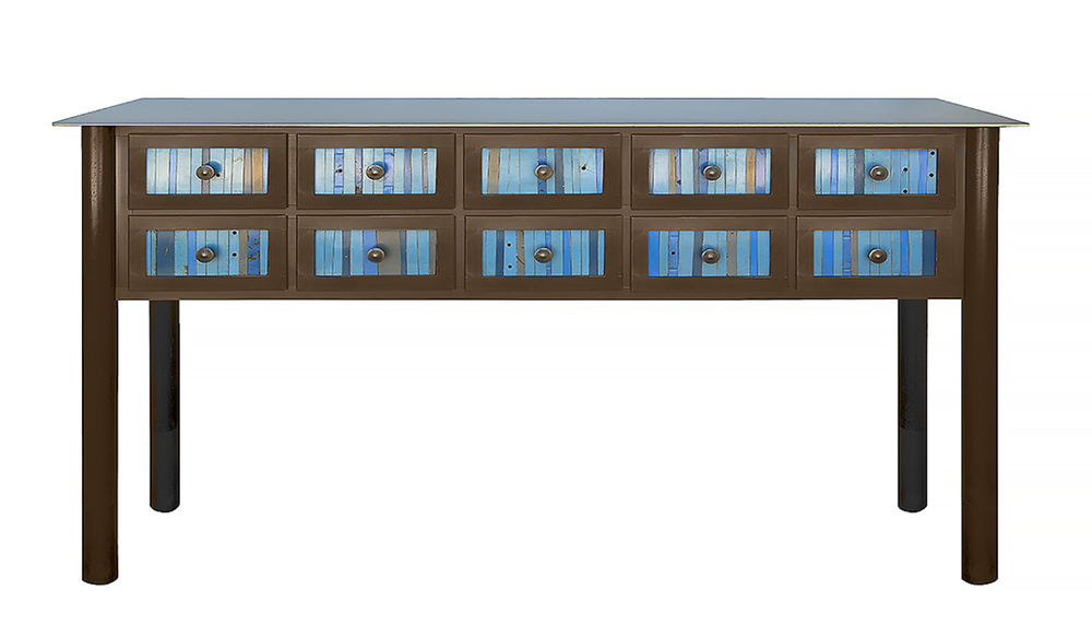 """TEN DRAWER STRIP QUILT COUNTER, Hot Rolled and Found, Painted Steel, 35h x 72w x 16 1/2d"""""""