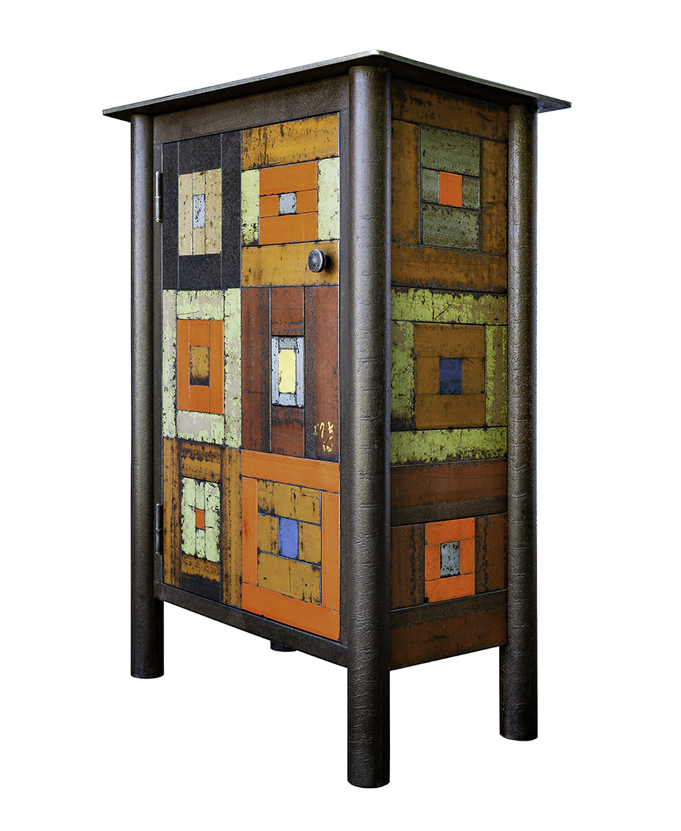 ONE DOOR HOUSETOP QUILT CUPBOARD, Hot Rolled and Found, Painted Steel, 40h x 34w x 17 1/2d""
