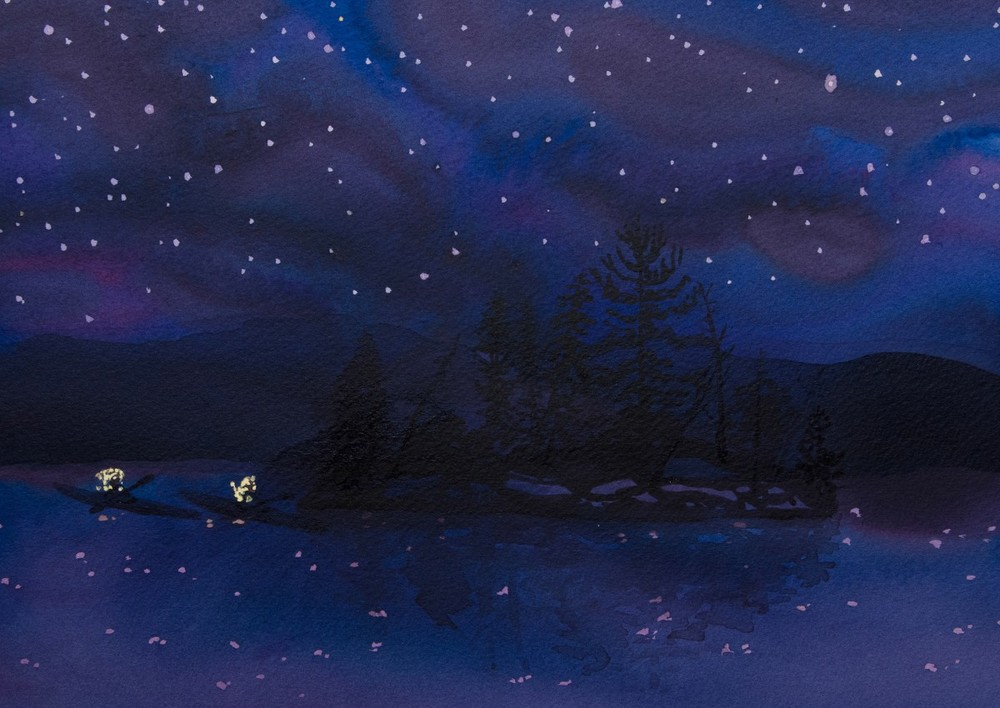 "NIGHT EXPLORING ON FRENCH LAKE, Acrylic on Paper, 9 x 12 1/4"" framed 15 x 12"""