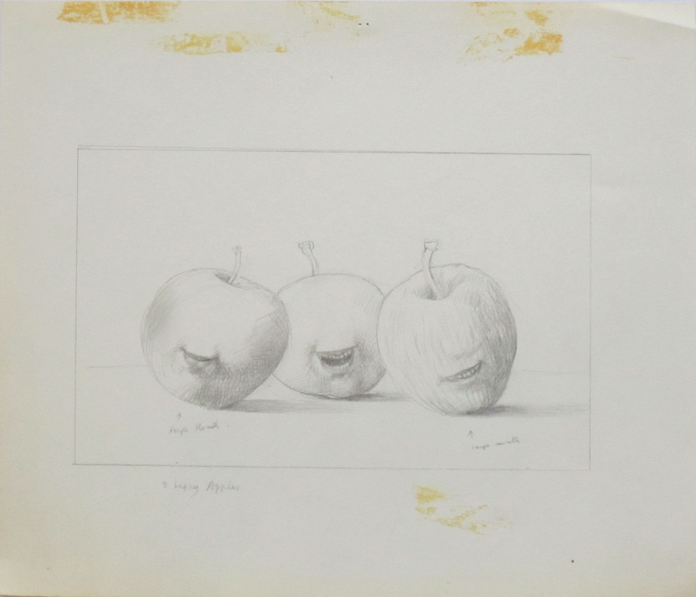 STUDY - THREE HAPPY APPLES, Pencil on Illustration Board, 12 x 14""
