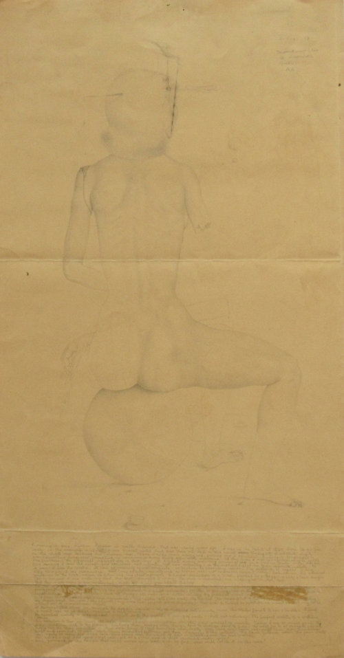 """UNTITLED LETTER (NUDE FEMALE ON BALL WITH SEVERED ARM AND DAGGER, 1943, Pencil on Paper, 22 x 11 1/4"""""""