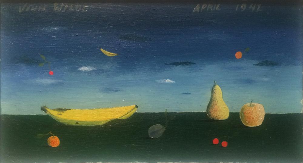 "FRUIT LANDSCAPE, 1942, Oil on Panel, 4 x 7 1/2"" framed 8 1/2 x 12 1/4"""