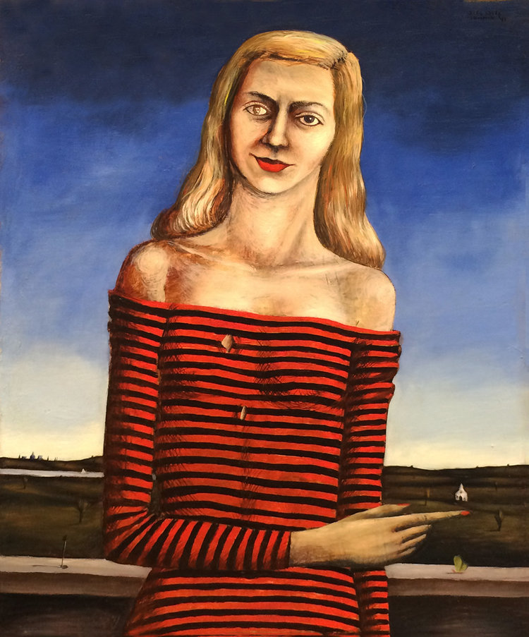 PORTRAIT OF A LADY, 1941, Mixed Media on Masonite, 25 x 20 1/2""