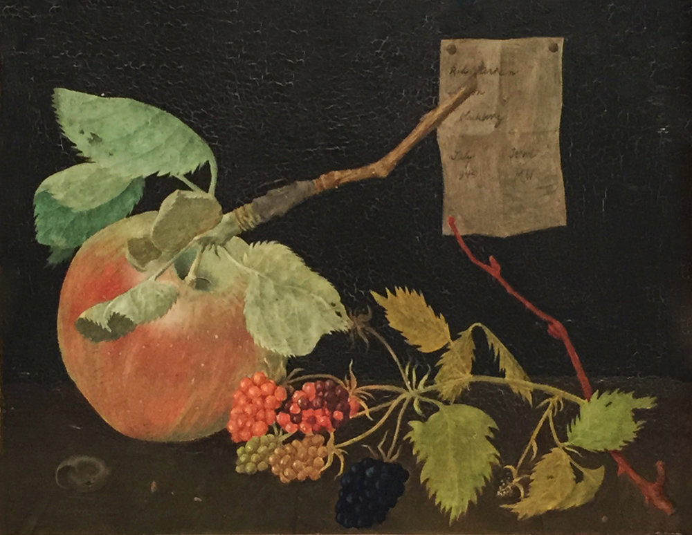 """APPLE WITH BERRIES ON BLACK, 1949, Oil on Panel, 5 x 6 1/2"""" framed 12 1/4 x 13"""""""