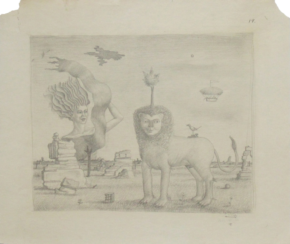 """LION AND BUST OF A WOMAN IN LANDSCAPE, 1941, Graphite on Paper, 11 3/4 x 13 3/4"""""""