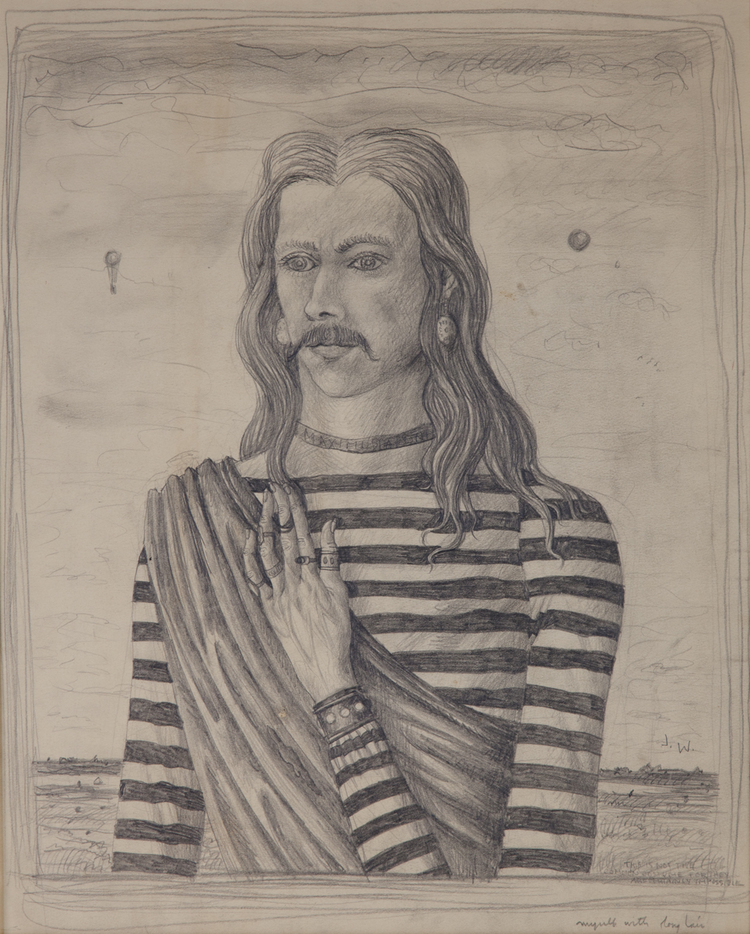 """MYSELF, AGE 19 WITH LONG HAIR, 1939, Graphite on Paper, 20 3/4 x 18"""""""