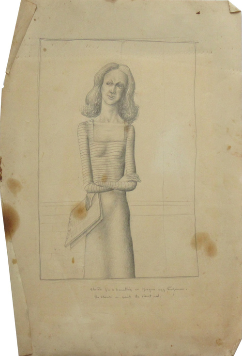 UNTITLED (SKETCH FOR A PAINTING), c. 1940, Pencil on Paper, 18 x 12""