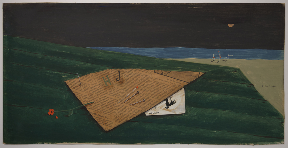 STILL LIFE WITH A JOKER, 1940, Gouache, Pen, Wash, and Collagen Paper Board, 11 1/2 x 23 1/2""