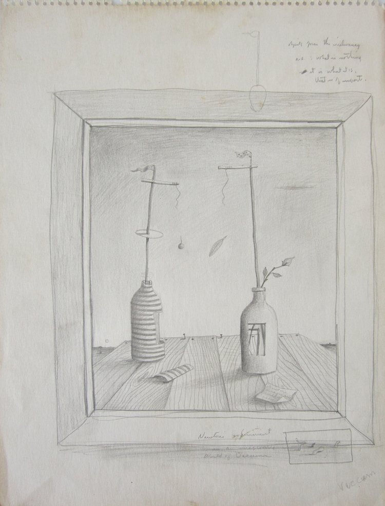 NEWTON'S WORLD OF VACUUM, c. 1942, Graphite on Paper, 13 3/4 x 10""