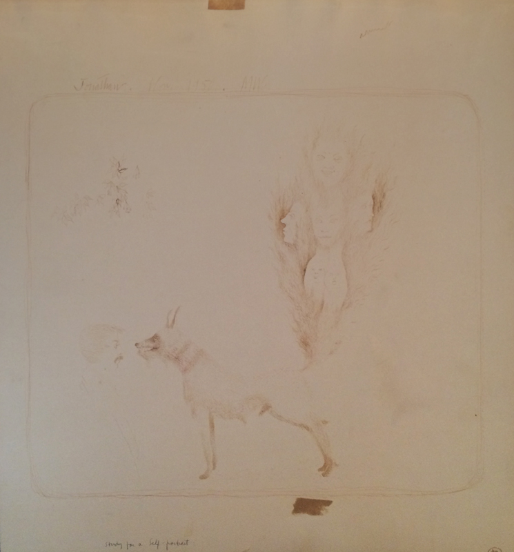 "STUDY FOR A SELF-PORTRAIT, 1950, Walnut Ink on Paper, 14 1/2 x 13 1/4"""