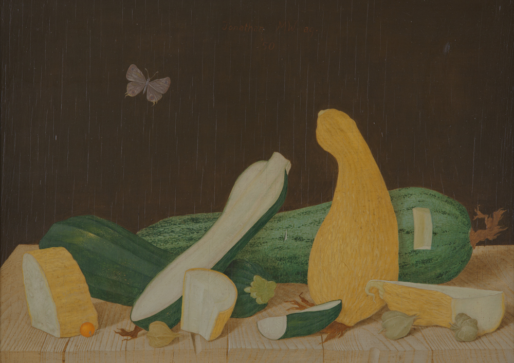 """STILL LIFE WITH SUMMER SQUASH, 1950, Oil on Panel, 10 7/8 x 15 7/8"""""""
