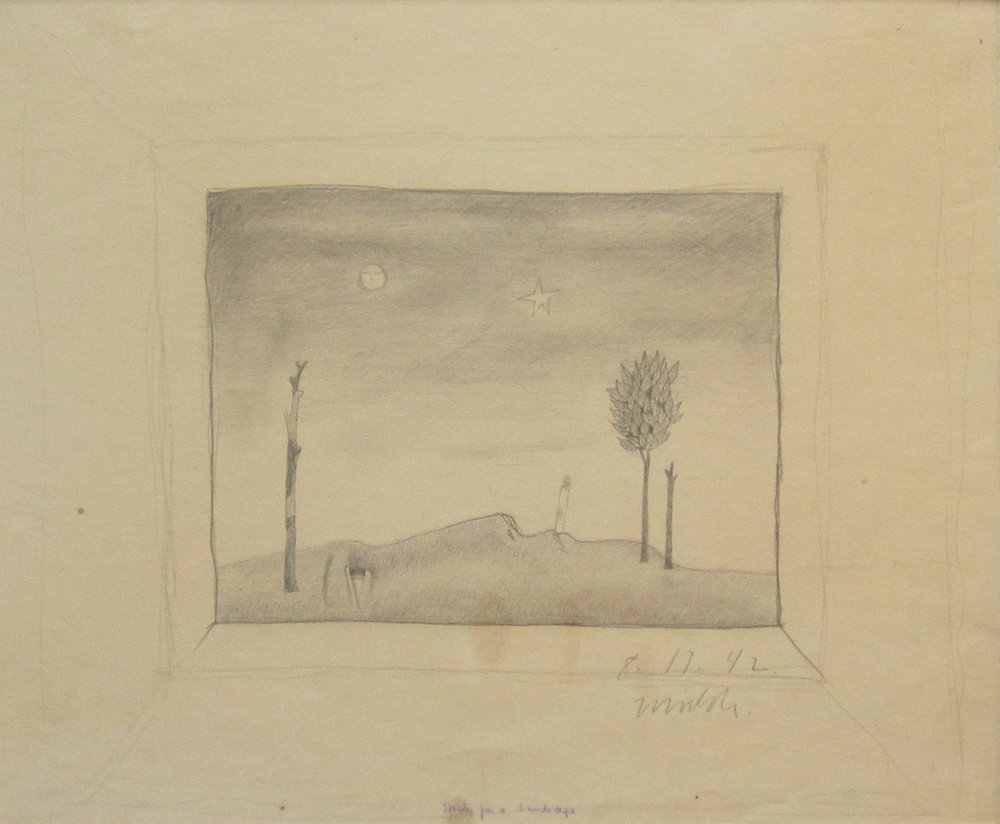 """STUDY FOR A LANDSCAPE, 1942, Graphite on Paper, 12 x 18"""""""