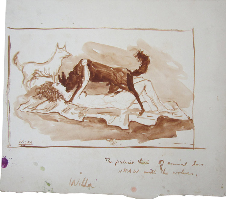 """THE PICTORIAL THESIS OF ANIMAL LOVE- HRAW WITH THE WOLVES, Ink on Paper, 11 1/4 x 12"""""""