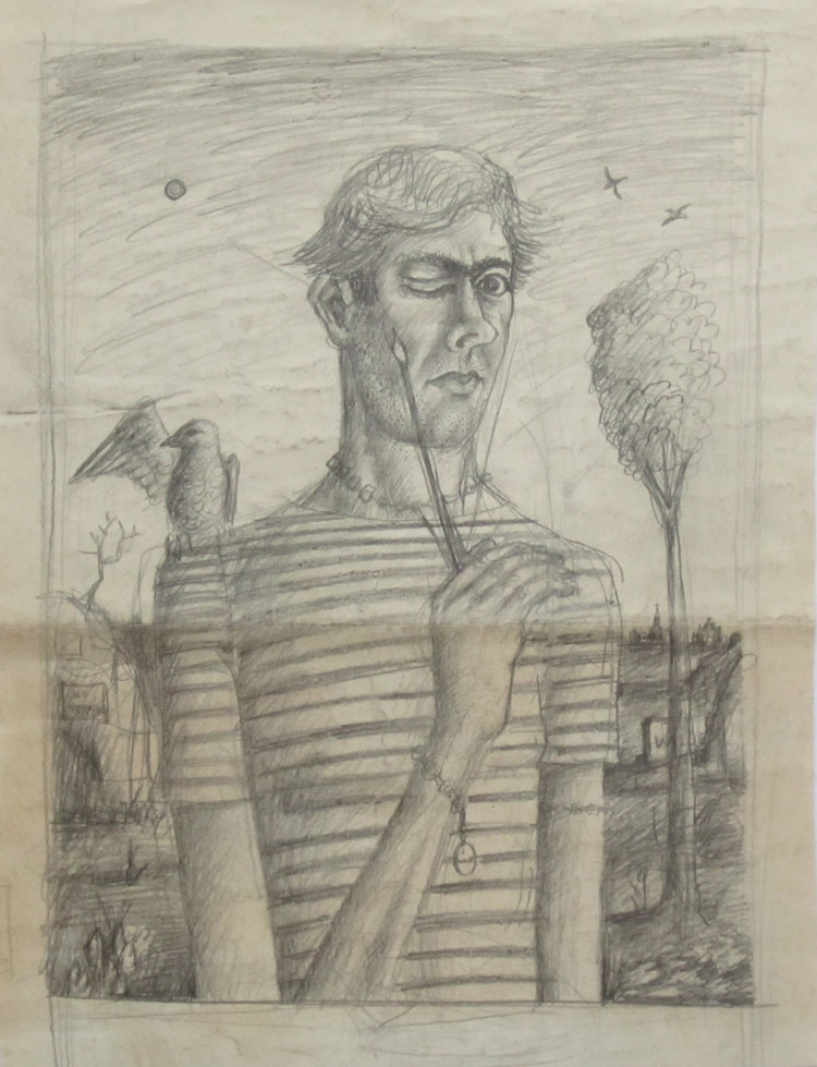 UNTITLED (DESIGN FOR MAN WITH ONE EYE CLOSED), c. 1940-1941, Pencil on Paper, 18 x 13 1/2""