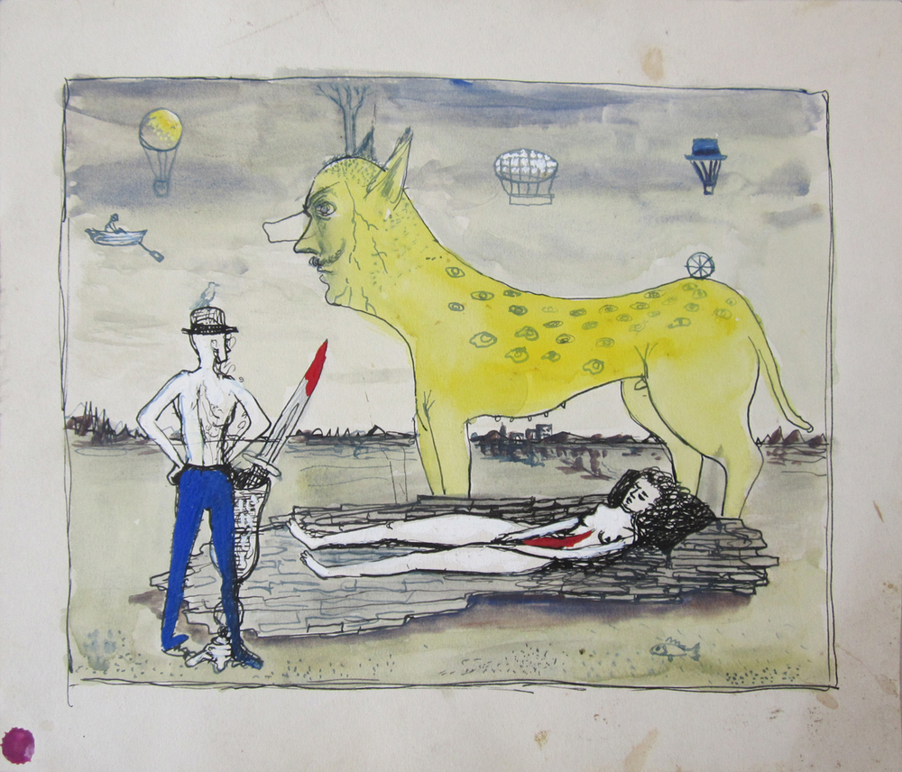 UNTITLED (WOMAN SLIT OPEN WITH BEAST, MAN, AND AIR SHIPS), c. 1942, Ink and Watercolor on Illustration Board, 9 3/4 x 11 1/4""