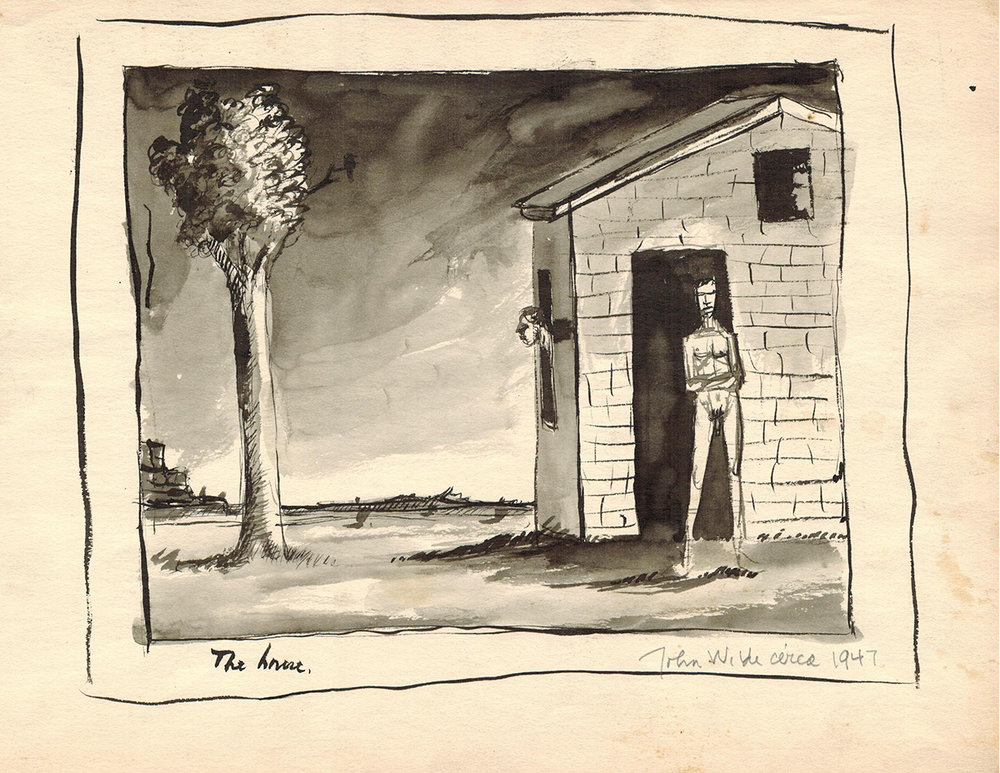 THE HOUSE, 1947, Ink on Paper, 10 x 13 3/4""
