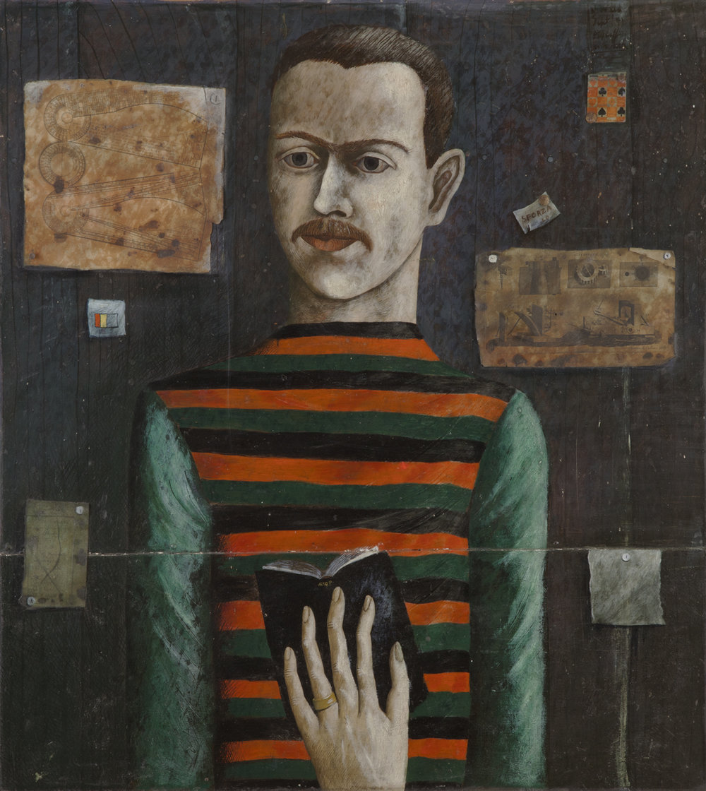 John Wilde, MYSELF AS A READER, 1941, Oil and Collage on Panel, 32 x 29""