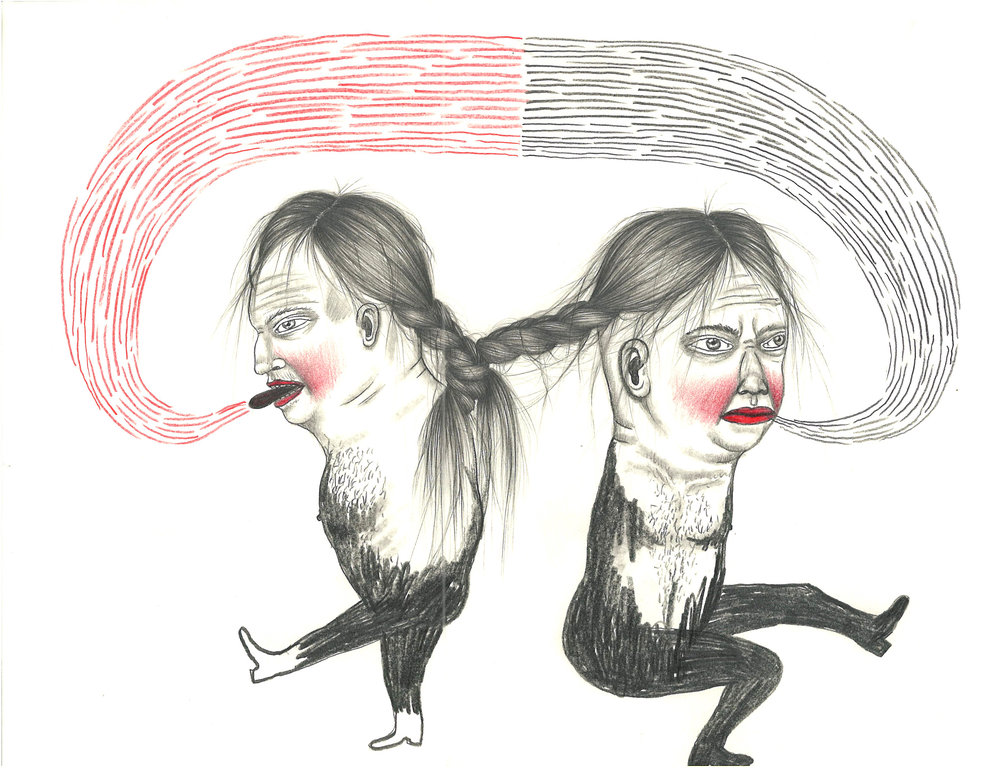 Fred Stonehouse and Raeleen Kao, TWINS, Graphite and Colored Pencil on Paper, 12 x 9""