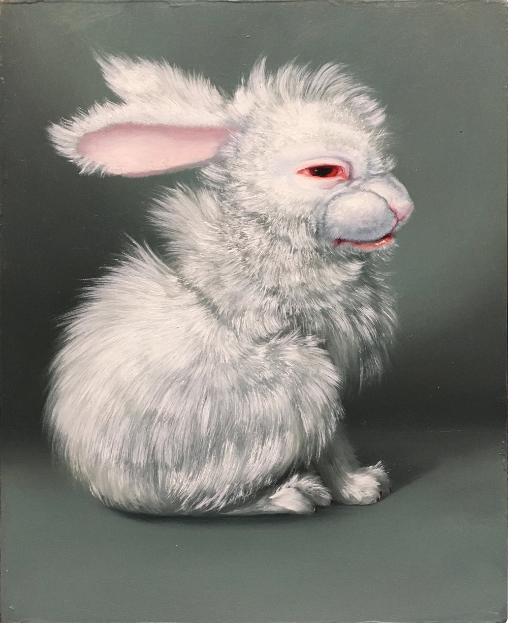 ADDICTION BUNNIES - II. UNTITLED WHITE HABIT RABBIT 1 (COTTON), Oil on Panel, 8 1/4 x 10 1/4""