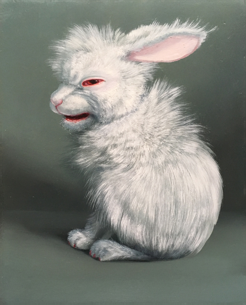 ADDICTION BUNNIES - VI. UNTITLED WHITE HABIT RABBIT 1 (CHARLIE), Oil on Panel, 8 1/4 x 10 1/4""