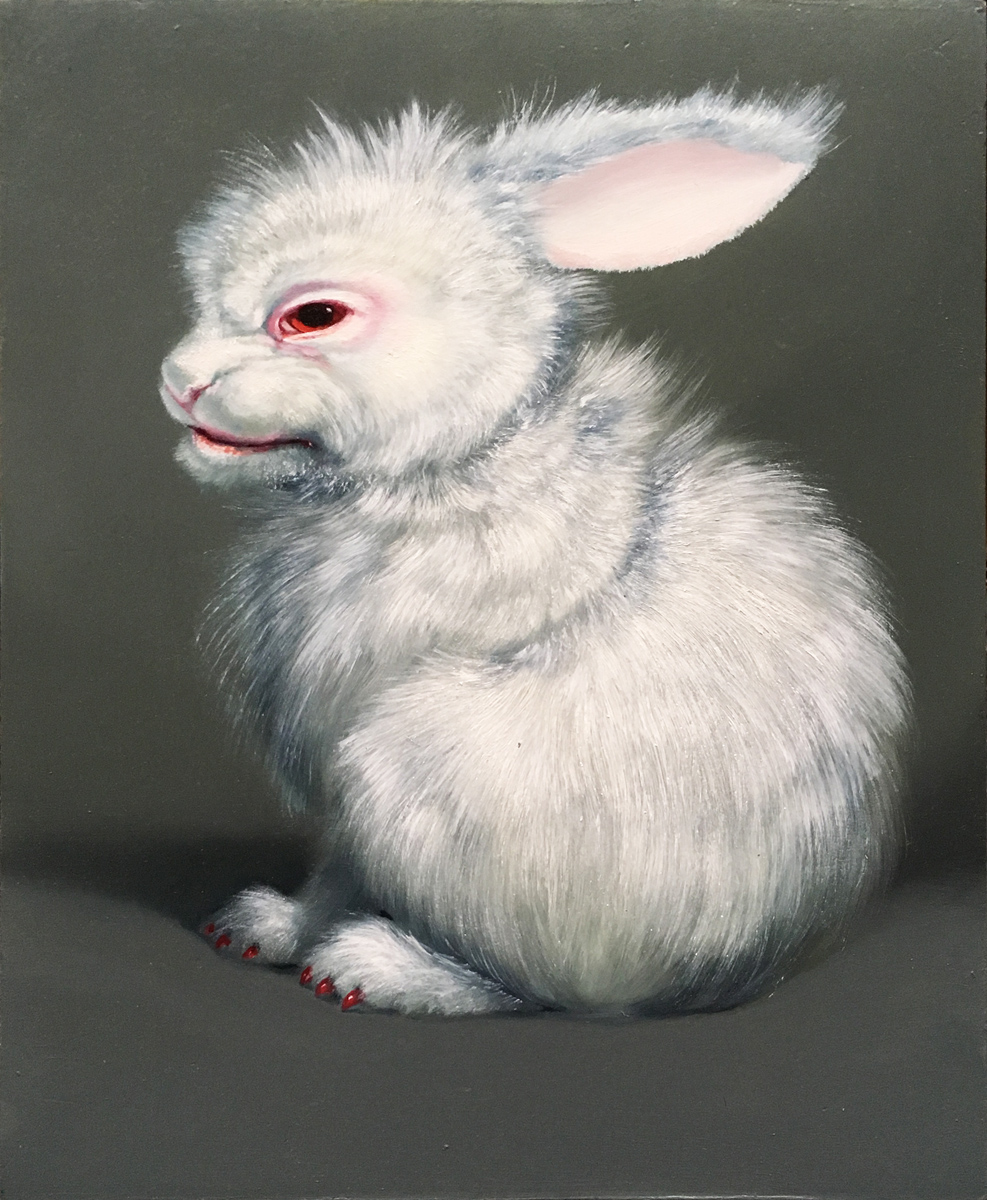 ADDICTION BUNNIES - V. UNTITLED WHITE HABIT RABBIT 1 (CANDY), Oil on Panel, 8 1/4 x 10 1/4""