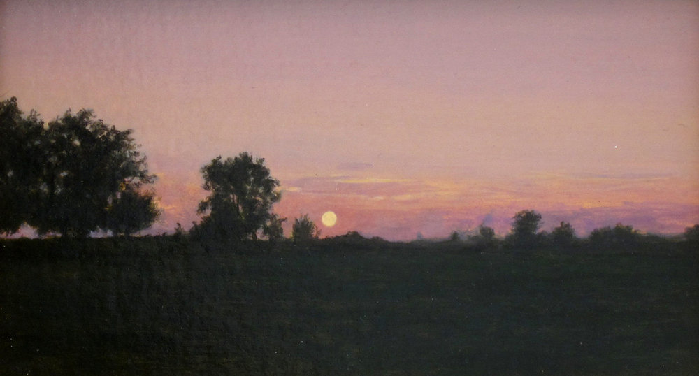"SUNSETTING, Acrylic on Panel, image 3 1/2 x 6"" framed 7 1/2 x 10"""