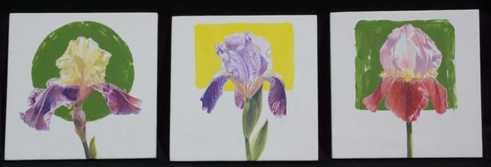 "James Winn, ""Iris,"" acrylic on paper, 6 x 6 in. (each) © Tory Folliard Gallery"