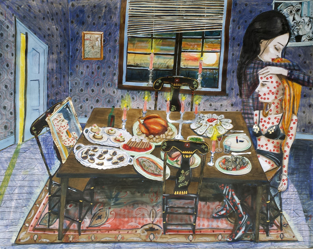 AT THE TABLE, Ink, Acrylic, Watercolor, Colored Pencil, Gold Leaf and Flocking, 26 x 38""