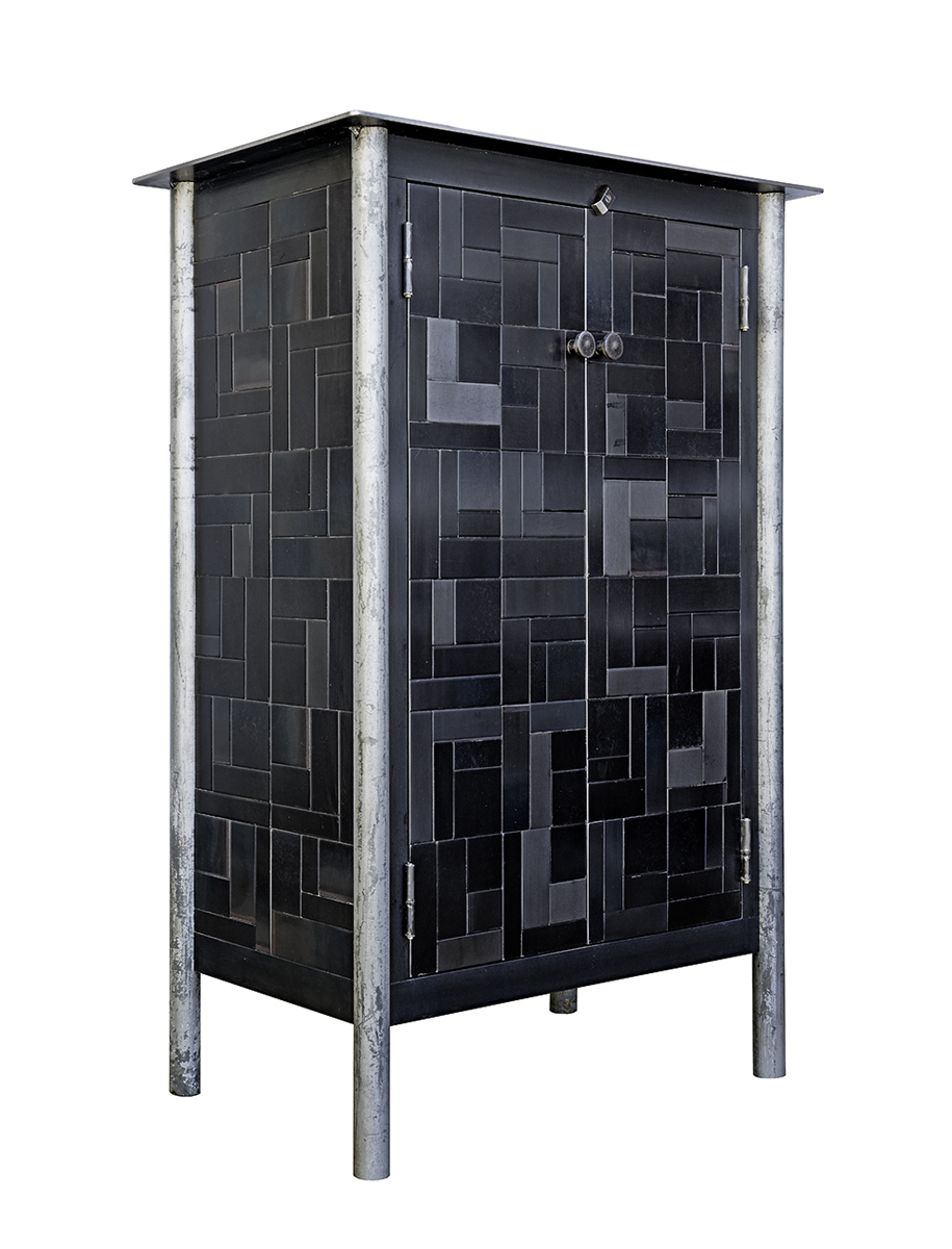 TWO DOOR HALF HOUSETOP QUILT CUPBOARD, Hot Rolled and Found Painted Steel, 48 x 35 x 17 1/2""