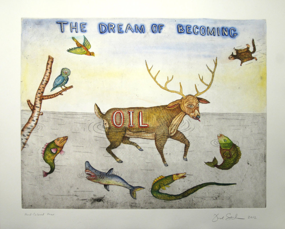 THE DREAM OF BECOMING OIL, Artist Proof, Hand-colored Etching and Aquatint, 23 X 27 3/4""