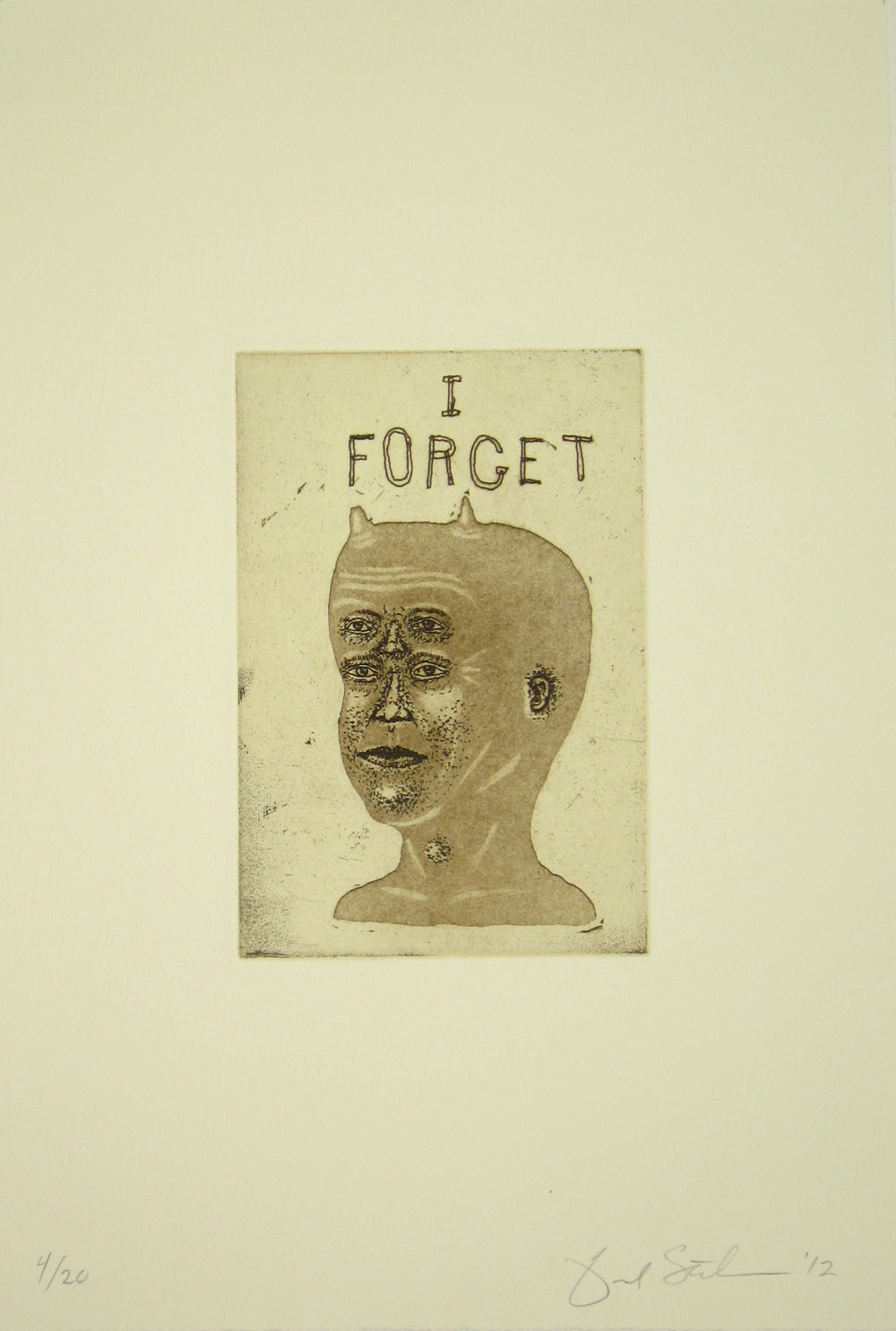 I FORGET, Ed. 4/20, Etching / Aquatint, 14 x 11""
