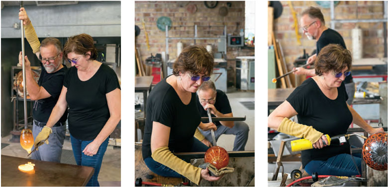 """Jeremy and Stephanie make a murrini bowl. """"The dance is highly choreographed, with the participants well aware of the steps involved and each other's slight variations and takes on the process,"""" says Jeremy. Photos by Mike Roemer/roemerphoto.com."""