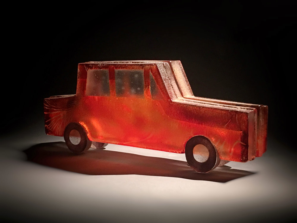 "RED CAR, Sandcast Glass Assembled, 7 x 18 x 3"" - $2,300"