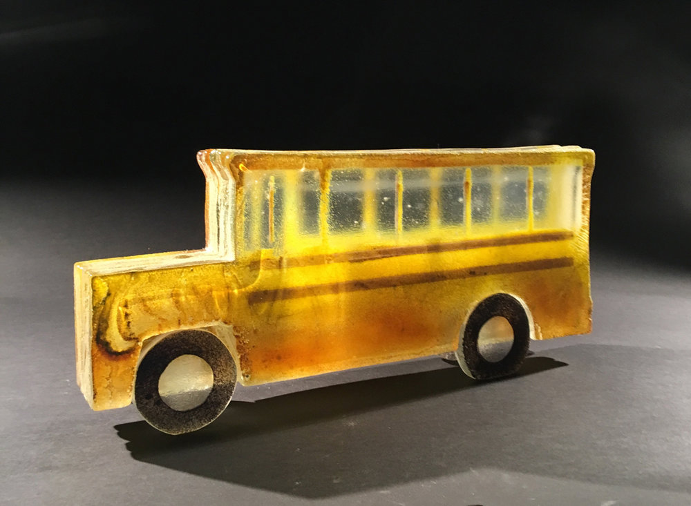 "SCHOOL BUS, Sandcast Glass Assembled, 8 1/2 x 19 x 3 1/2"" - $2,600"