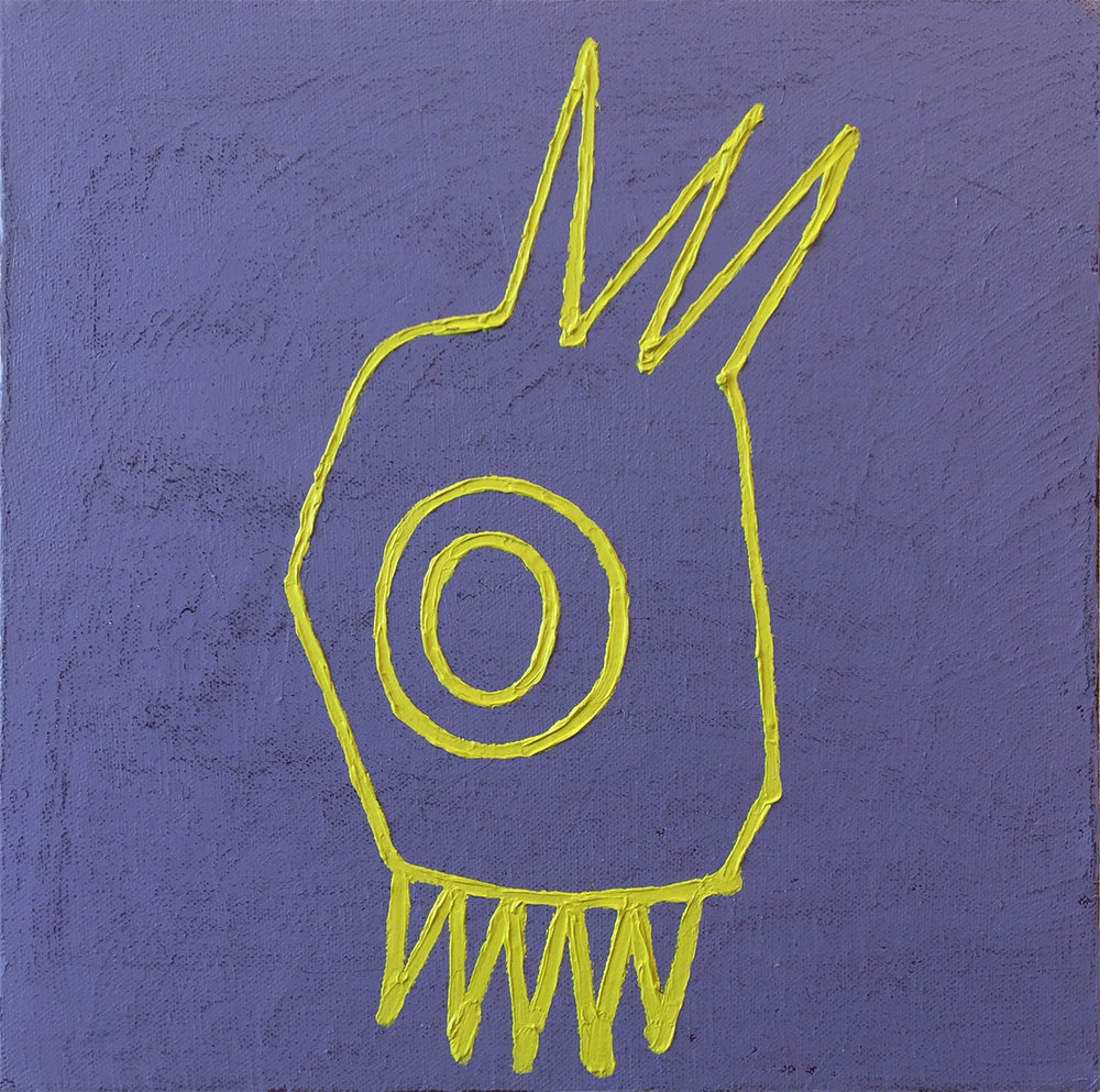 YELLOW GREEN MEANIE, Oil on Canvas over Panel, 11 1/2 x 11 1/2""