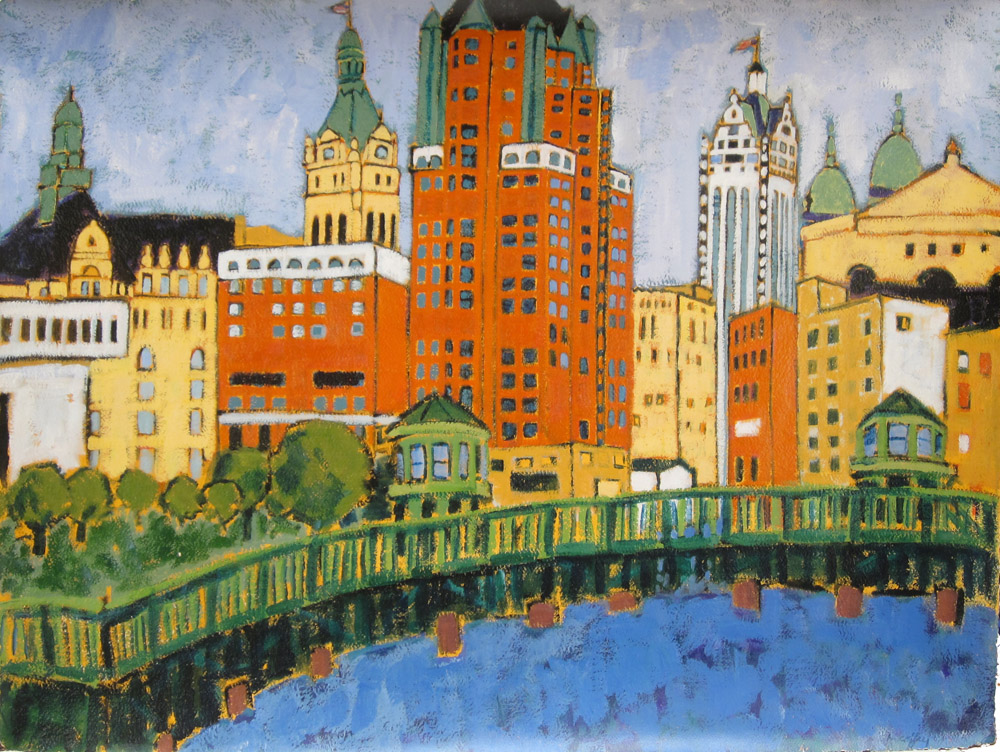 MILWAUKEE RIVERWALK, Giclee Print, 30 x 40""
