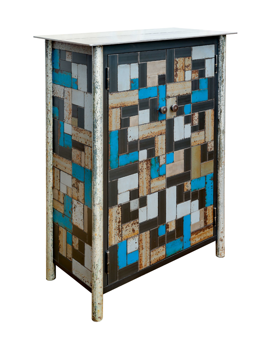 TWO DOOR HALF HOUSETOP QUILT CUPBOARD, Hot Roll and Found Painted Steel, 44 x 23 x 16 1/2""