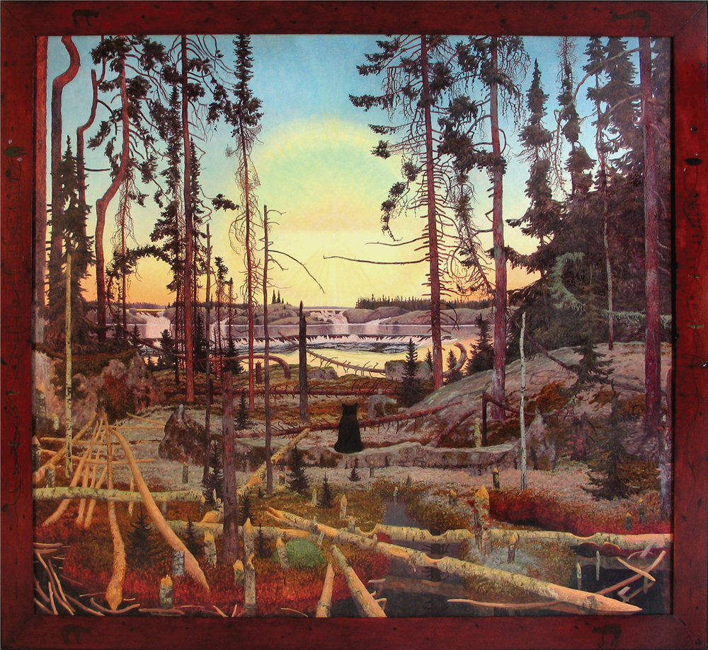 NANAGATAWENINDISOWIN (828), Oil on Linen, 67 x 72 1/2""
