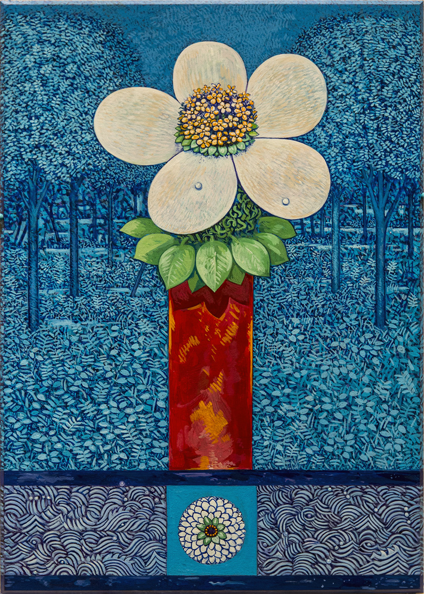 "OFFERING (RED VASE), Acrylic on Paper Panel, 14 1/4 x 10 1/4"" framed 24 1/4 x 20"""