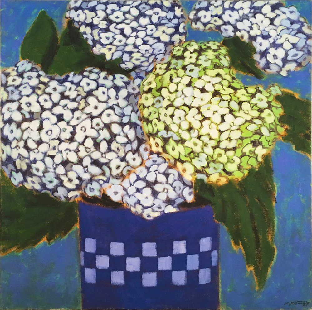 HYDRANGEAS ON BLUE, Giclee Print, Ed. 6/50, 30 x 30""