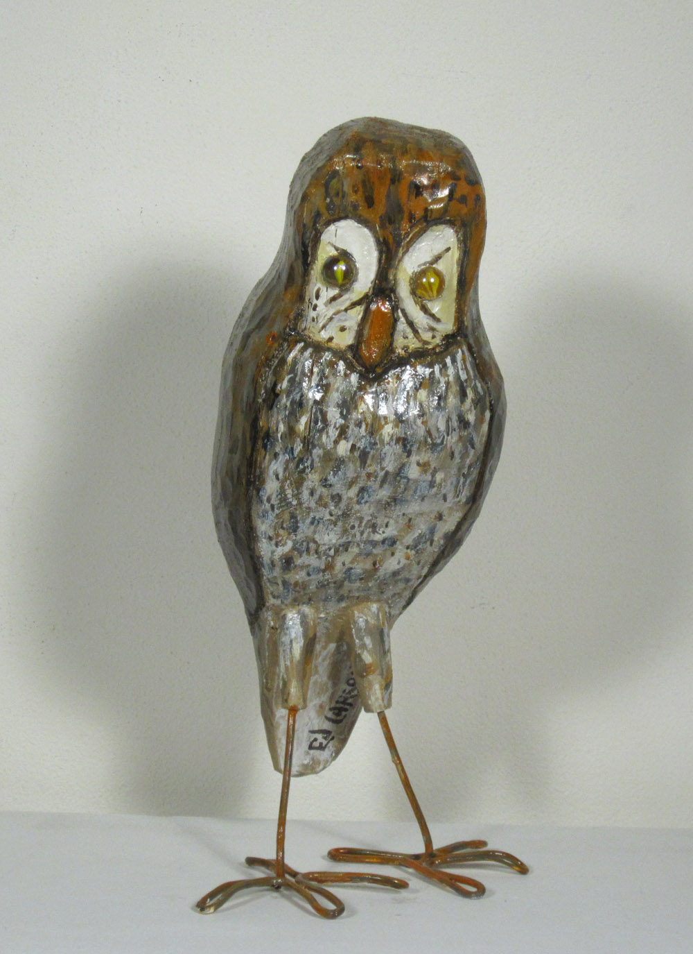 OWL II, Painted Wood, Metal and Marbles, 15 x 8 x 5""
