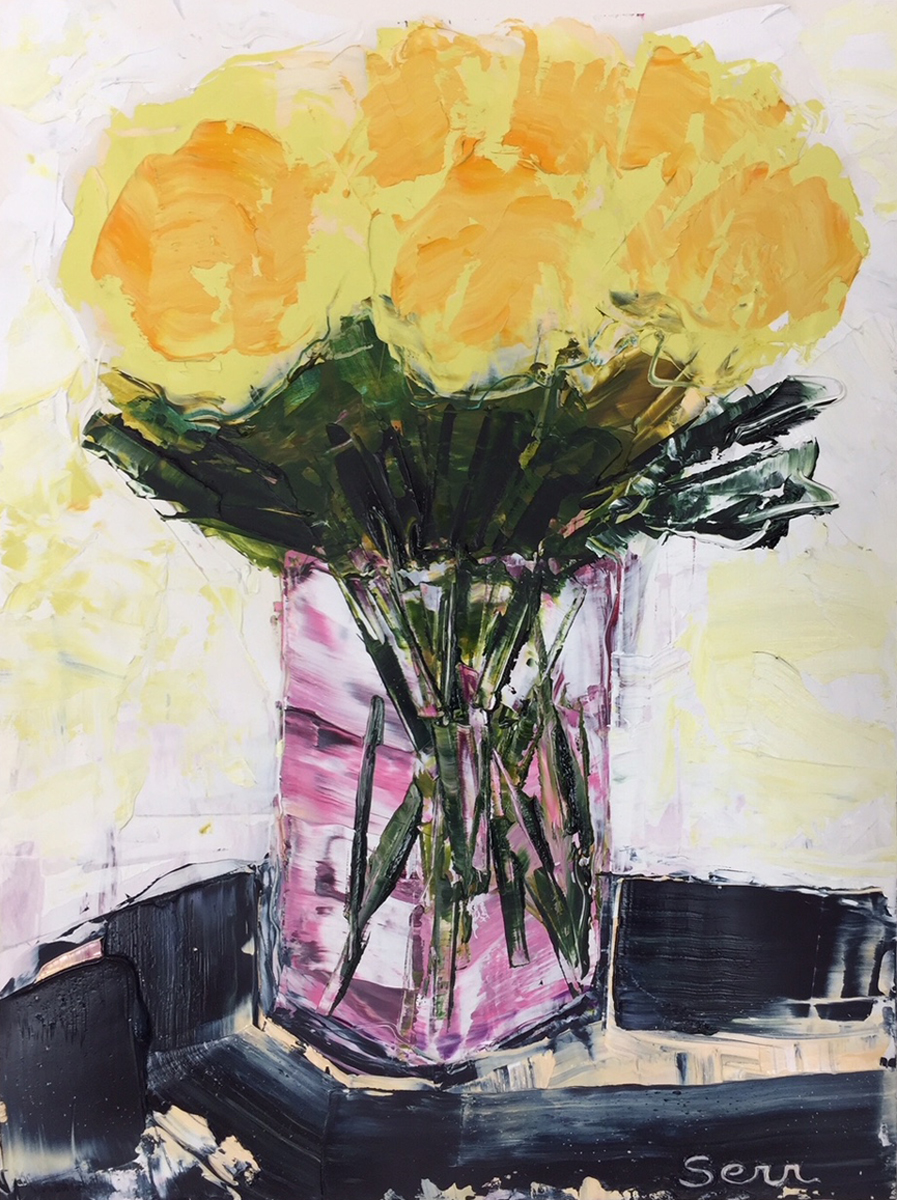 STILL LIFE WITH YELLOW FLOWERS, Oil on Clay Board, 12 x 9""