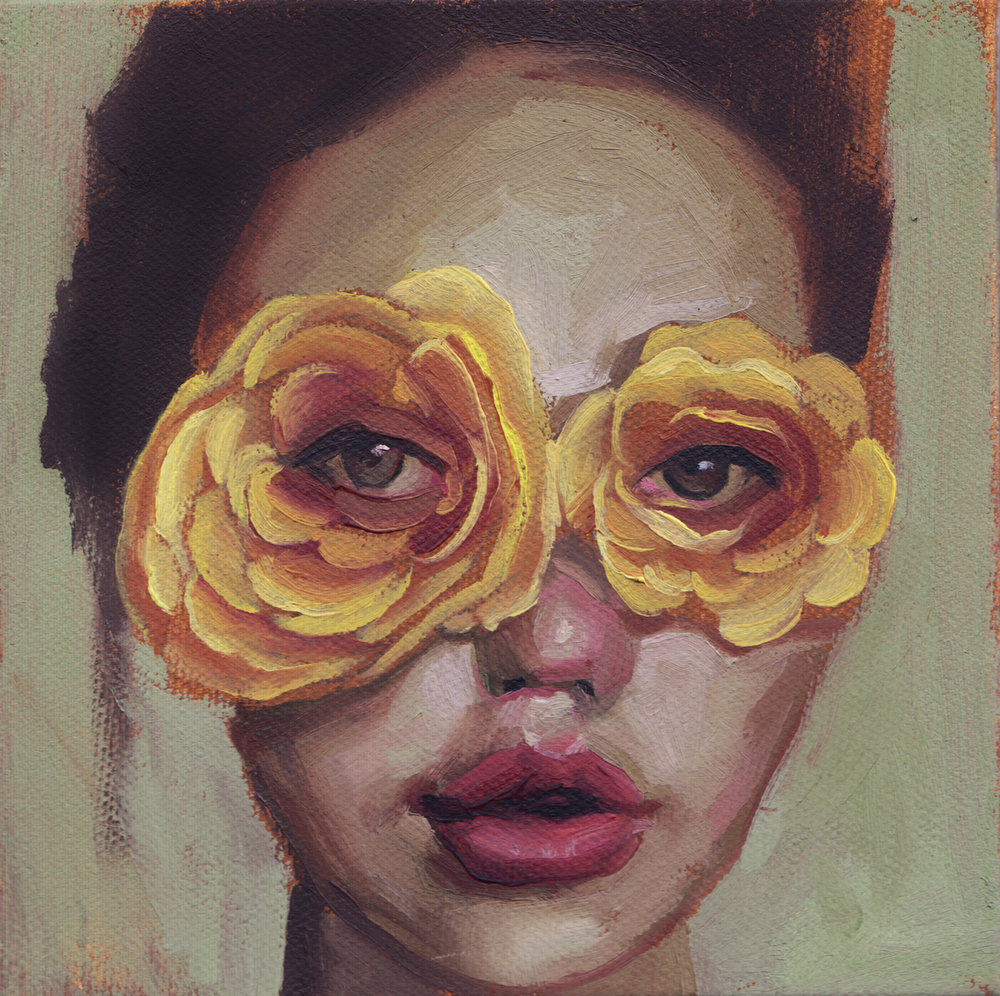 FLOWER EYES, Oil on Canvas Mounted on Panel, 5 x 5""